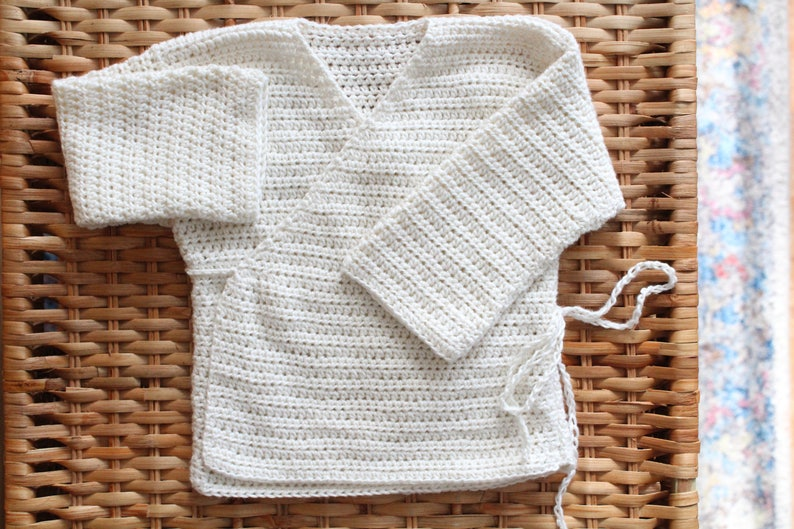 2e1ee8c36fa7 BABY Kimono Wrap Sweater PDF Crochet Pattern Newborn Sweater