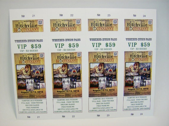 custom printed tickets 1000 numbered with perforated etsy