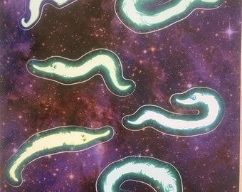 Neon Pastel *Fuzzy Worm* Sticker Sheet!