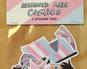 5 stickers pack from Assigned Male comics