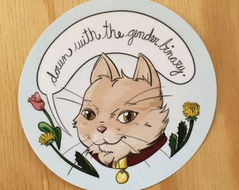 Down with the gender binary round vinyl sticker