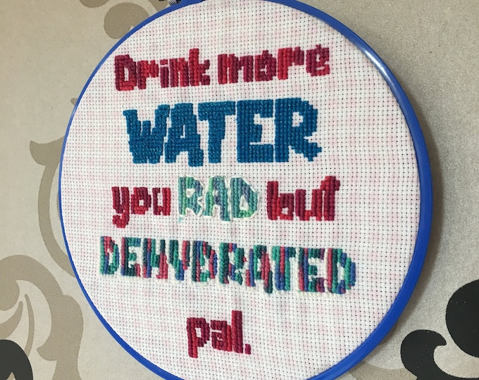 Drink More Water - handmade embroidery by Sophie Labelle