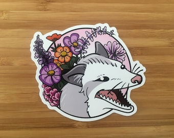 Flower Opossum - vinyle sticker