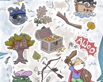 Preorder - Adventure Pup sticker sheet