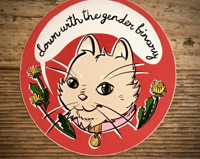 Down with the gender binary round vinyl sticker