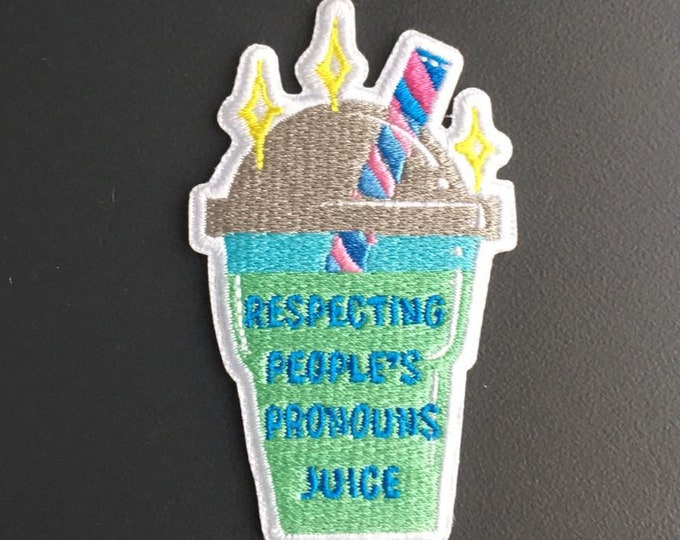 Respecting other people's pronouns juice - Iron-on patch