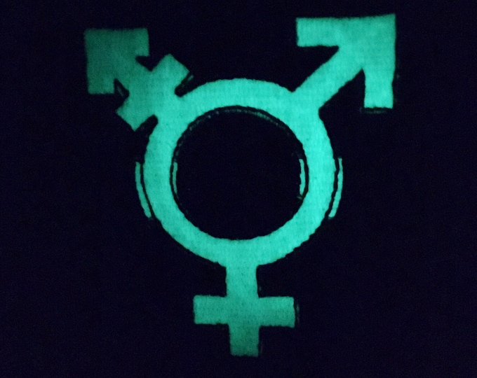 Glow in the dark trans symbol patch