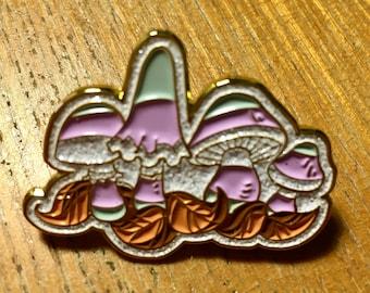 Trans mushrooms metallic glittery pin