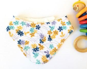 Bandana Bib, Mustard Navy and Turquoise Floral Drool Bib, Dribble Bib, Teething Bib, Bibdana, Drool Bib, Girl Bandana Bib, Baby Shower Gift