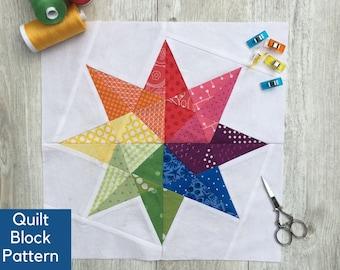 Modern Rainbow Star Quilt Pattern, Foundation Paper Piecing, Quilt Block Pattern, Beginner Quilt Block Pattern, Waldorf Star Pattern