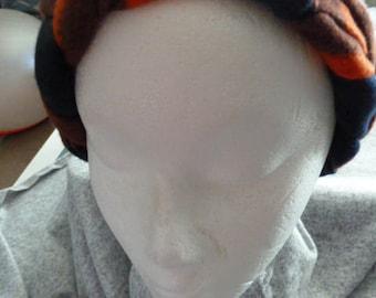 Blue & Orange Braided Fleece Ear Warmer Headband