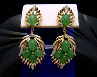 Fabulous Vintage Crown Trifari Jewels of India Dangle Earrings Jade Glass Rhinestones