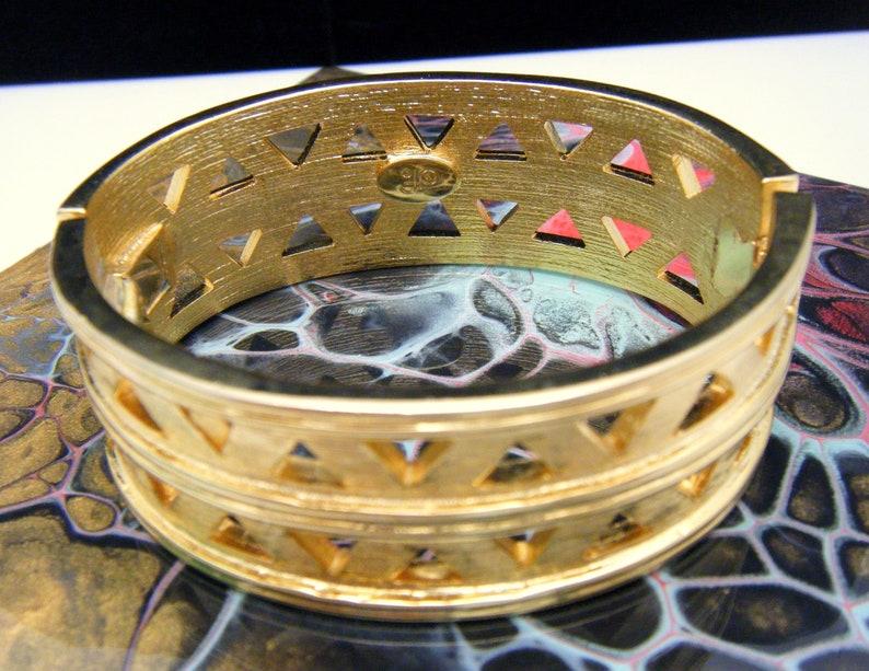 Vintage Diane Von Furstenberg Hinged Bangle Bracelet Pierced Gold Tone