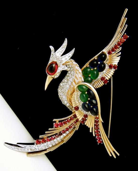 Iconic Vintage Boucher Bird of Paradise Brooch Rhi