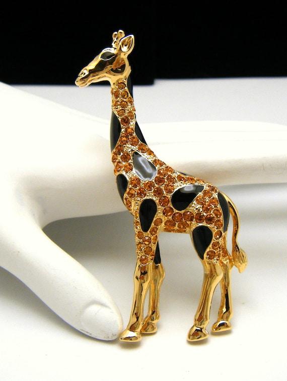 Vintage Trifari TM Safari Rhinestone Figural Giraffe Brooch Black Enamel Spots Gold Tone