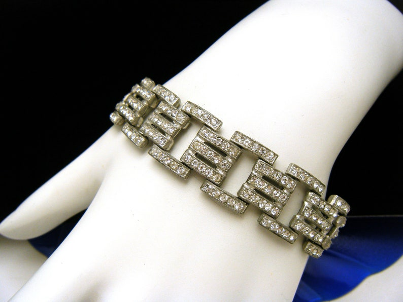 Fabulous Vintage Art Deco Bracelet Rhinestones Pot Metal