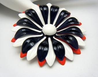 Vintage Enamel Flower Power Brooch Patriotic Red White Navy Blue
