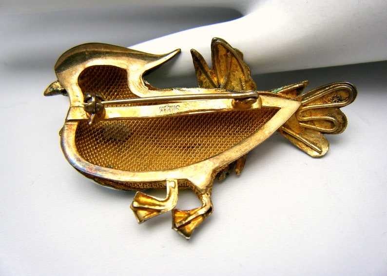 Stunning Vintage Chinese Export Enamel Bird Brooch Large Colorful Marked Silver