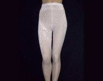 e93503636194e Leggings Tights White Sheer Stretch Mesh with Burnout Velvet Medium Unisex Stretch  Pants High Waist