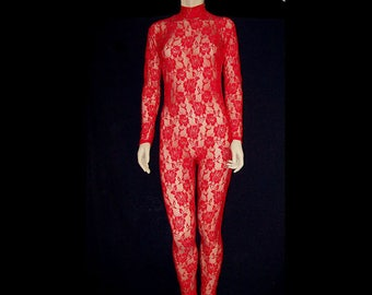 e9b81a0f9b Red Sheer Stretch Lace Red Roses Unitard Catsuit Bodysuit Jumpsuit Unisex -  Medium Costume Dance