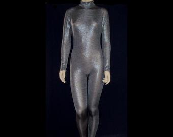 9815b5a81cb Dark Silver Pewter Metallic Stretch Unitard Catsuit Bodysuit Jumpsuit -  Medium Unisex Costume Dance