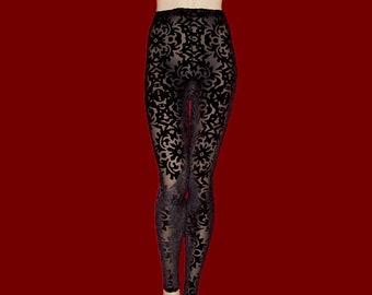 d7f5e4522ed7e Leggings Tights Black Sheer Stretch Mesh with Burnout Velvet Medium Unisex Stretch  Pants High Waist