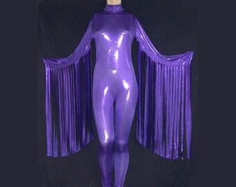 0400c05af59 Purple Metallic With Fringed Streamer Sleeves Stretch Spandex Unitard  Catsuit Bodysuit Jumpsuit - Medium Unisex Costume Dance