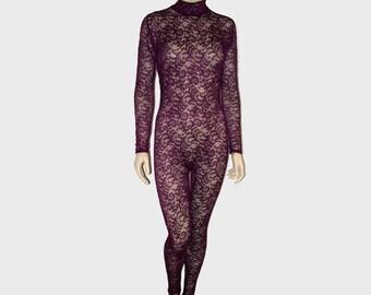 da67f431c8 Sheer Burgundy Dark Red Shiny Eyelet Stretch Lace Unitard Catsuit Bodysuit  Jumpsuit Medium Unisex See-through Costume Dance