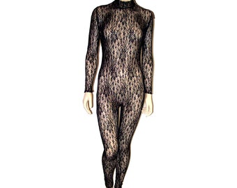 d41ef3b41c Sheer Black Stretch Lace with Gold Metallic Sparkles Unitard Catsuit  Bodysuit Jumpsuit - Medium Unisex Costume Dance