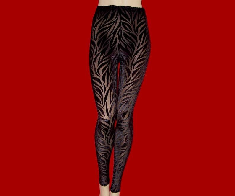 3c0bff4b2bb Leggings Tights Black Sheer Stretch Mesh with Black Burnout