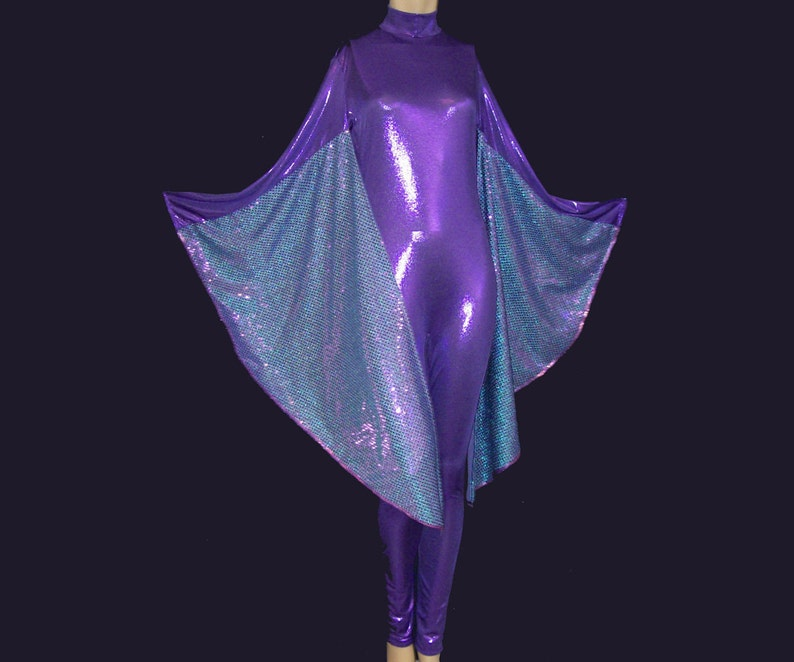 afd52ecf2fe Purple Metallic Stretch Spandex with Purple and Blue Sequin