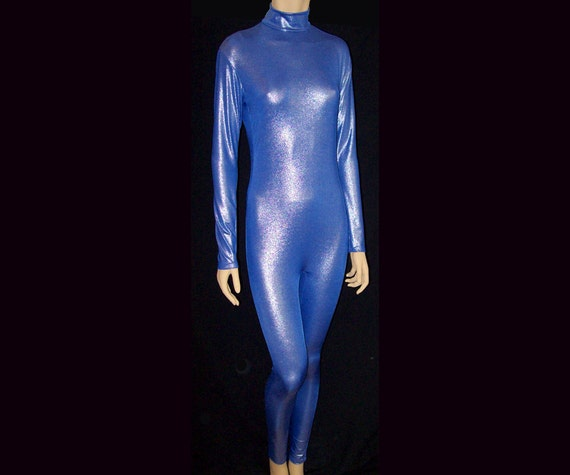 eedf50ee1007 Silver Metallic on Royal Blue Stretch Spandex Unitard Catsuit