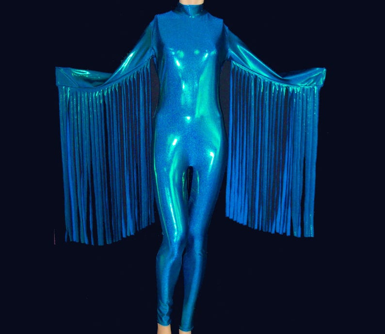 287541f3ce1 Turquoise Blue Green Metallic Stretch Spandex with Fringe Sleeves Unitard  Catsui... Turquoise Blue Green Metallic Stretch Spandex with Fringe Sleeves  ...