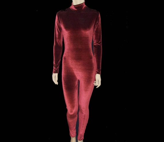 d024c4c9d3ea Rust Brown Stretch Velvet Unitard Catsuit Bodysuit Jumpsuit