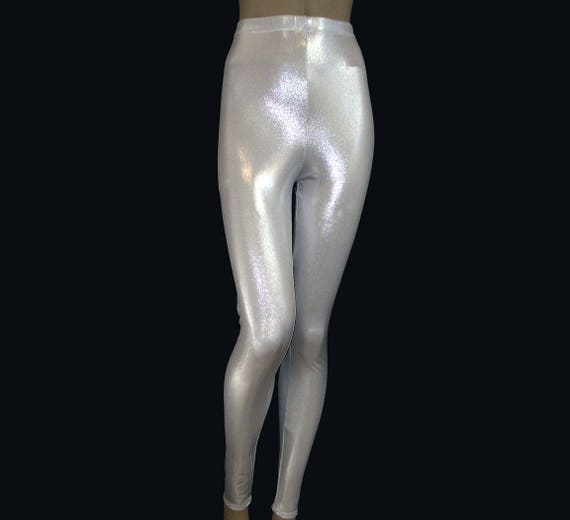 48157651a0ea Leggings Metallic Silver On White Stretch Spandex Dance