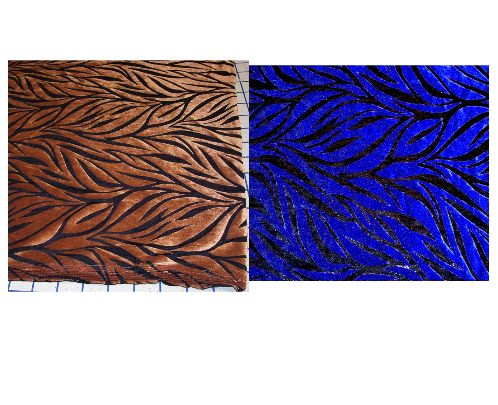 "Taupe Dans Le Jardin gold or blue stretch burnout velvet on sheer black mesh fabric large pieces  56"" x 15"" and 54"" x 21"""