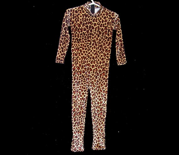 6530bbae9301 Child Leopard Stretch Velvet Unitard Bodysuit Jumpsuit Size 10