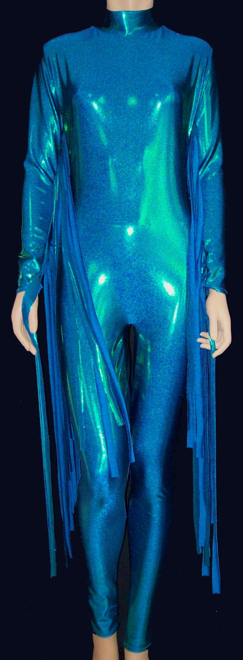 03226f146d1 Turquoise Blue Green Metallic Stretch Spandex with Fringe