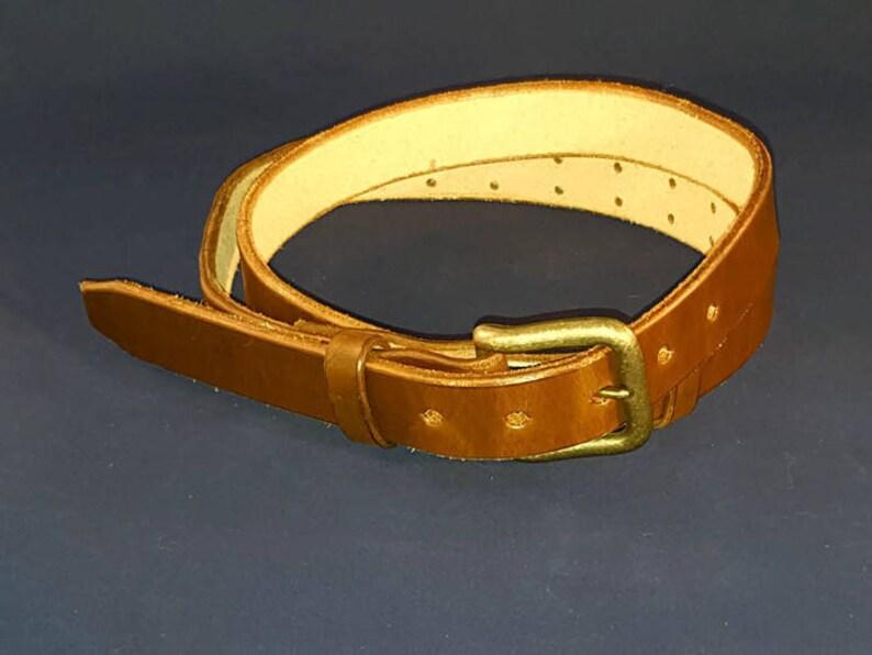 Adjustable Leather Belt Handmade in USA Unisex Belt Dark image 0