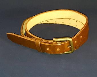 Handmade Leather Belt, Adjustable, Saddle Tan, Ready-to-Ship