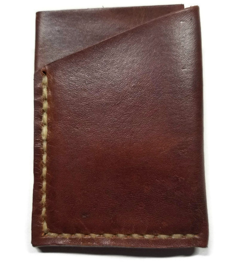Leather Card Wallet Minimalist Card Wallet Money-Clip Light Brown