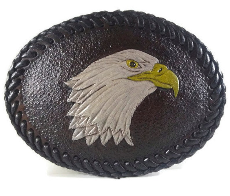 Handmade Leather Trophy Style Buckle Carved & Tooled: Eagle image 0