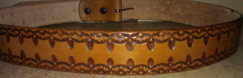 Leather Belt Stamped Leather Belt Handmade Leather Belt image 0