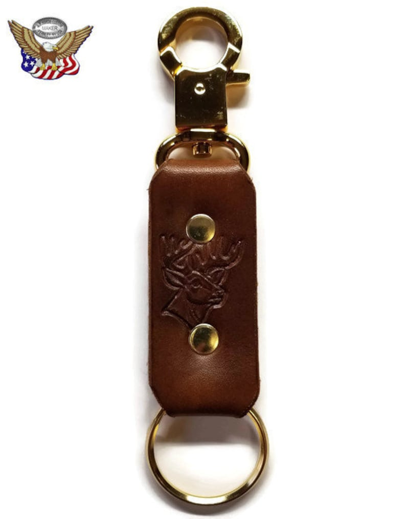 Snap Ring Key Fob Handmade Leather Stamped Emblem Light Deer Head 1