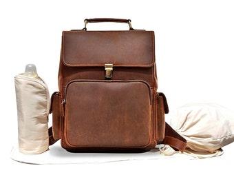 Leather Backpack Diaper Bag e5aba3e951b09