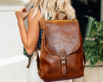 f4e60505153aa Leather Backpack Women, Leather Backpack Purse, Minimalist Leather Backpack,  Brown Leather Backpack, Leather Rucksack, Sac à dos