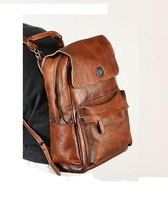 Laptop Leather Backpack Leather Backpack Men Brown Backpack Etsy