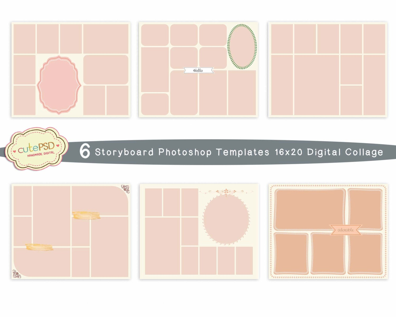 Photo Collage Templates Photoshop Collage Templates Etsy