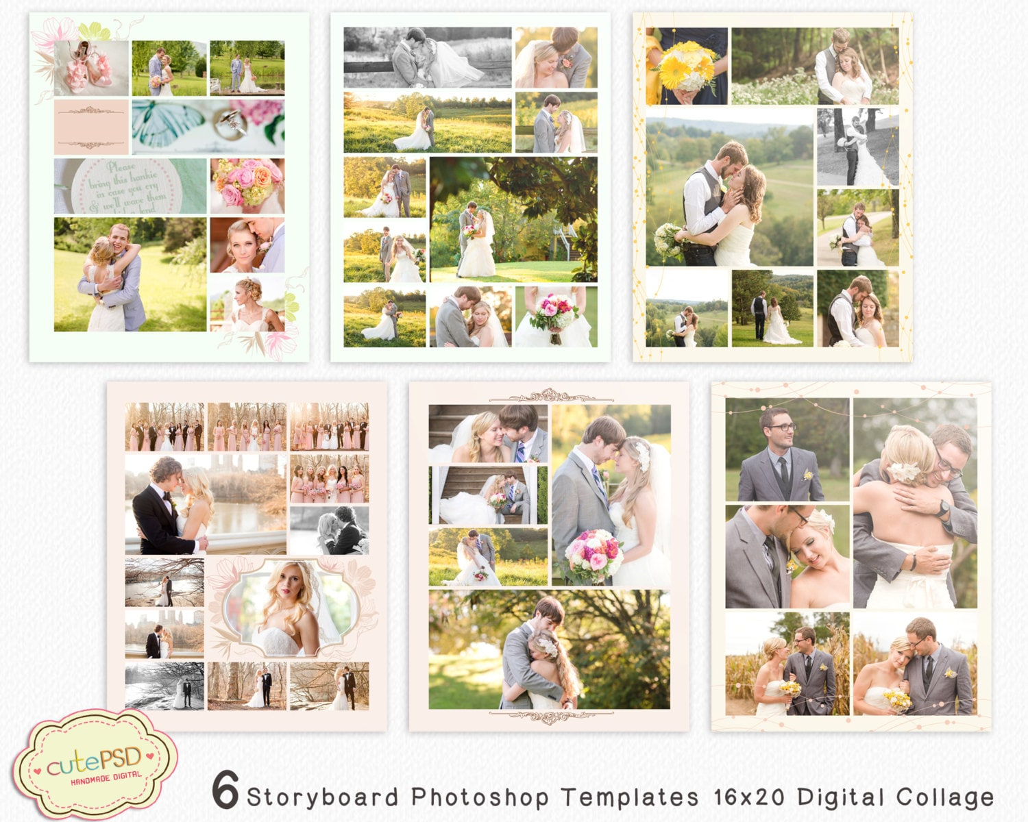 Foto Collage Templates Photoshop Collage Vorlagen | Etsy