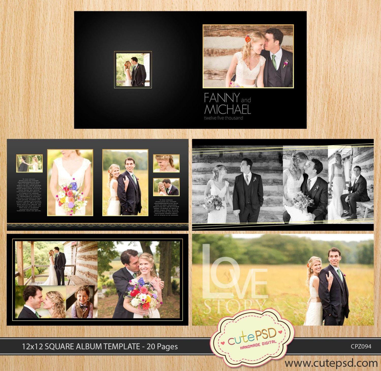 30x30cm quadratisch Hochzeit Album Vorlage 20 Seiten Dark